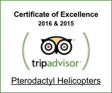 TripAdvisor Certificate of Excellence awarded to Pterodactyl Helicopters 2015 and 2016