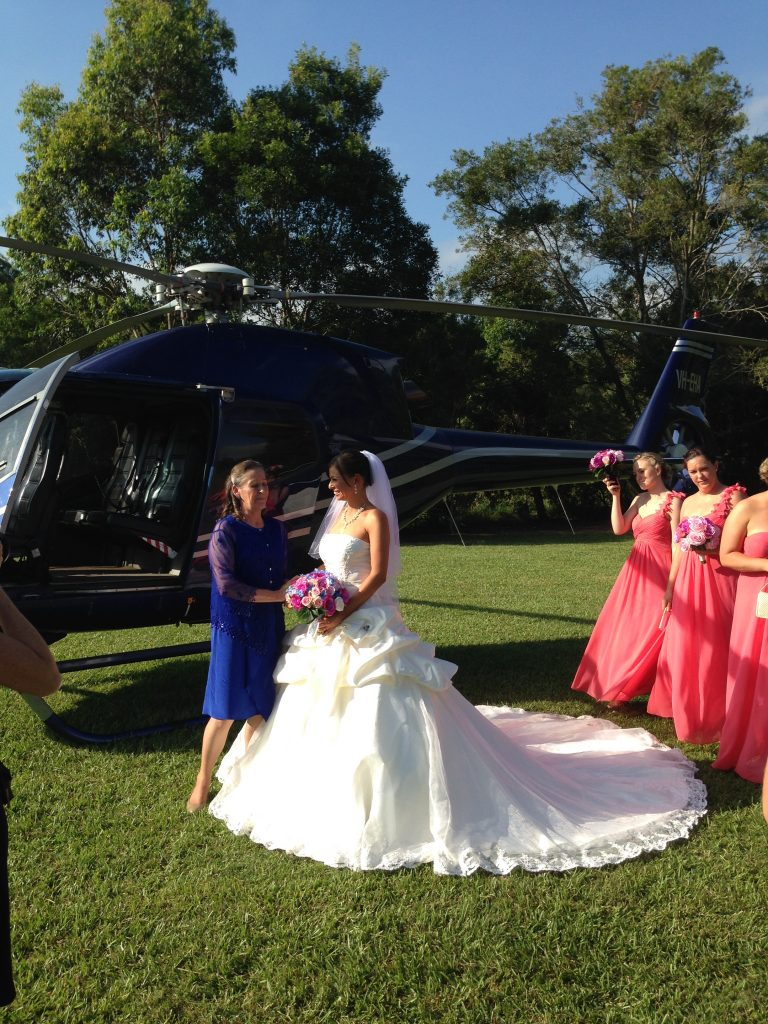 wedding by helicopter, limo. celebrity wedding