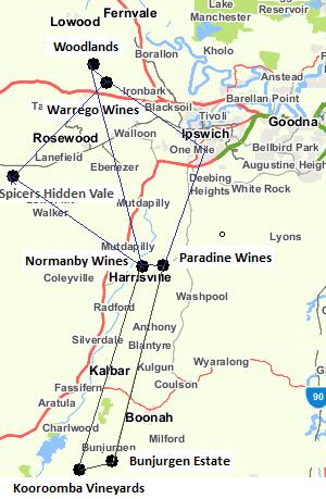 wineries, brisbane, helicopter, map, winery tour by helicopter