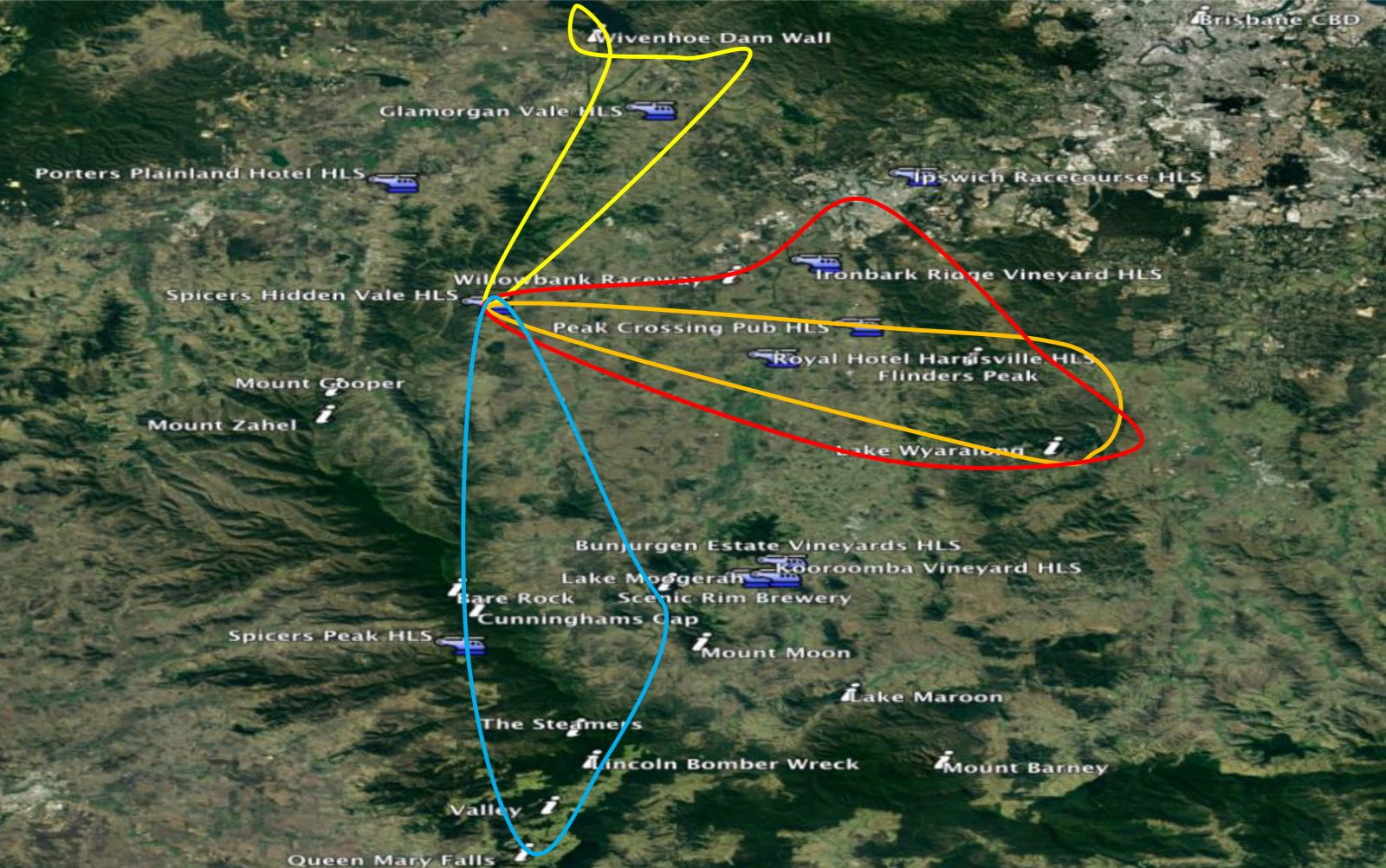 Routes and locations we fly around Extraordinary Experiences at Spicers Hidden Vale