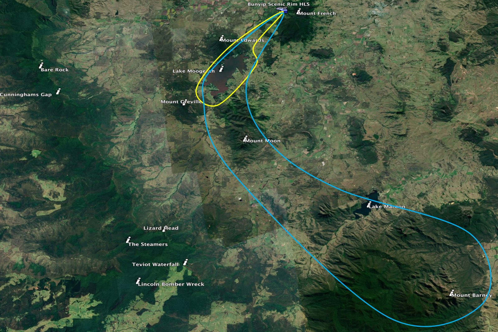 Routes and locations we fly around Extraordinary Experiences from The Bunyip Retreat