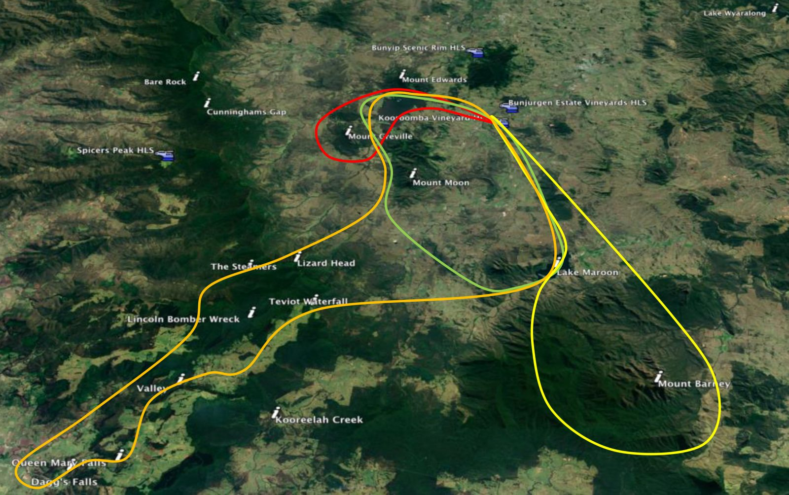 Routes and locations we fly around Extraordinary Experiences at Kooroomba Vineyards and Lavender Farm