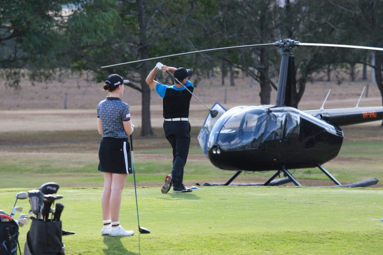 golf, scenic rim, helicopter